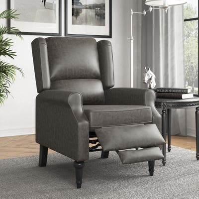 Copper Grove Cale Faux Leather Wingback Push Back Recliner Chair
