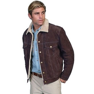 Scully Western Jacket Mens Boar Suede Sherpa Snap Chocolate
