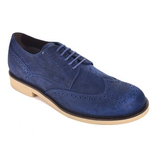 Tod's Solid Navy Air Brushed Leather Lace Up Brogue Shoes