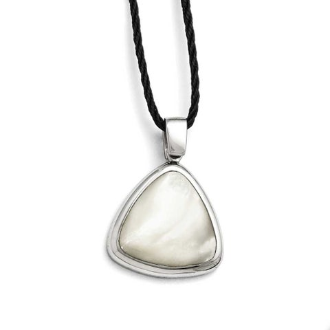 Chisel Stainless Steel Polished Mother of Pearl with 2in ext Fabric Cord Necklace (2 mm) - 18.5 in