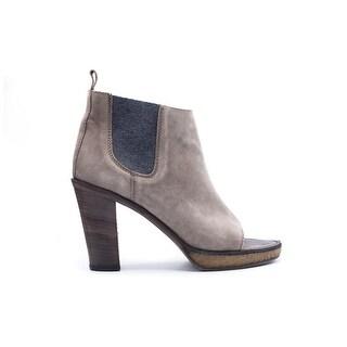 Brunello Cucinelli Womens Suede Grey Peep Toe Heel Ankle Boots