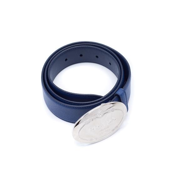 Prada Men's Blue Leather Oval Logo Belt
