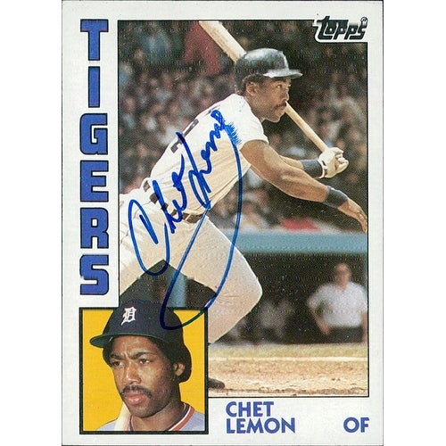 Signed Lemon Chet Detroit Tigers 1984 Topps Baseball Card Light Smudging Of The Signature Autograph