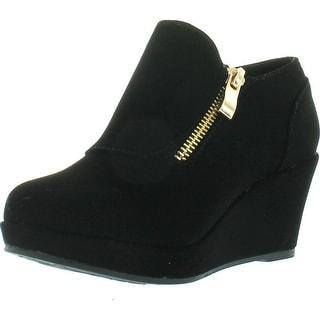 Lucky Top Rita-2K Children Girl's Comfort Platform Wedge Heel Ankle Booties