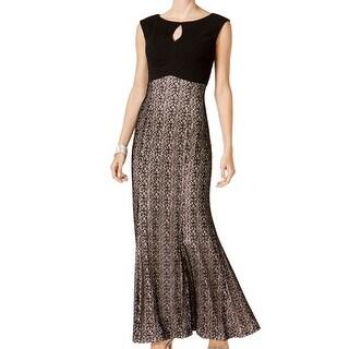 Alex Evenings Black Women's Size 8 Mermaid Keyhole Lace Gown