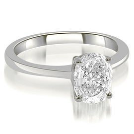 0.75 cttw. 14K White Gold Solitaire Oval Cut Diamond Engagement Ring
