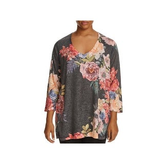 Nally & Millie Womens V-Neck Sweater Knit Floral Print