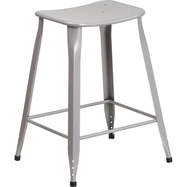 Brimmes 24 High Metal Counter Stool Silver Backless Saddle