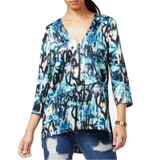 Rachel Rachel Roy Printed Zip Front 3/4 Sleeve Tunic Blouse - S