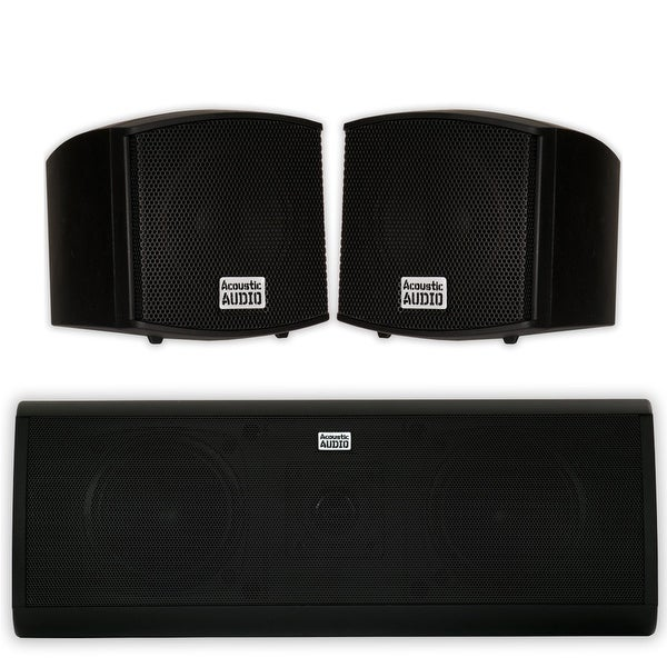 Acoustic Audio AA321B and AA40CB Indoor Speakers Home Theater 3 Speaker Set