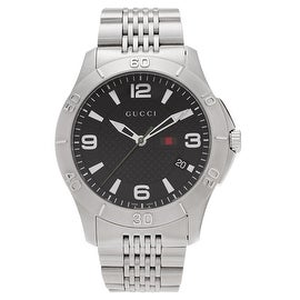 Gucci Men's YA126218 'Timeless' Stainless Steel Black Dial Bracelet Watch