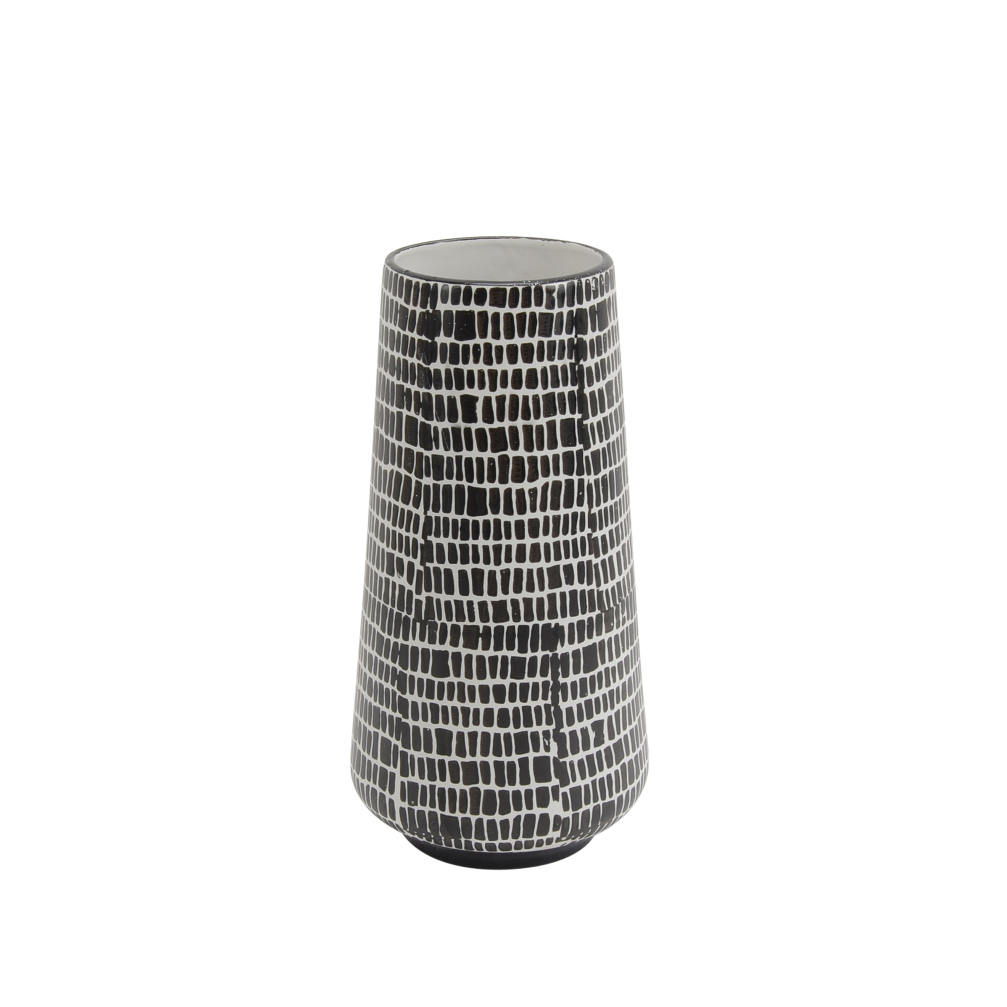 Ceramic Vase with Cobble Pattern Design and Tapered Base, White and Black