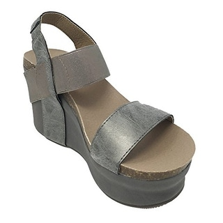 Corkys Women's Wedge Pewter Sandals