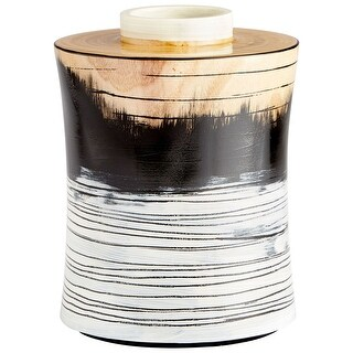 "Cyan Design 09868  Snow Flake 8-1/2"" Diameter Wood Vase - Black / White Gradient"