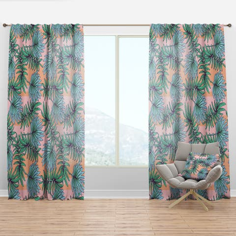 Designart 'Summer Colorful Hawaiian Pattern with Tropical Plants' Tropical Curtain Panel