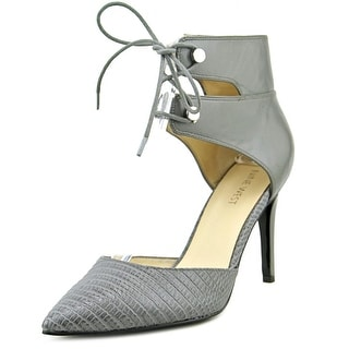 Nine West The Limit Women Pointed Toe Leather Gray Heels