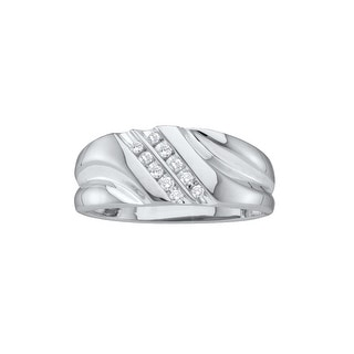 10k White Gold Round Natural Diamond Mens 2-row Channel-set Wedding Band Ring 1/10 Cttw