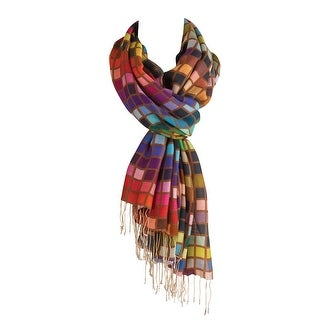 Women's Colorful Accent Scarf - Squared Print with Fringe - Medium