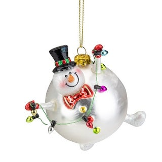 "Link to 4.25"" Round Body Snowman With a Black Top Hat Glass Christmas Ornament Similar Items in Christmas Decorations"