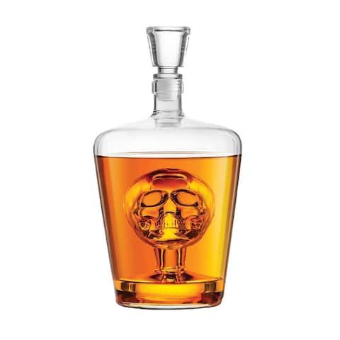 Final Touch Blown Glass Human Skull Decanter - Decorative 1 Liter Liquor Bottle - Barware Decor - Clear - 9.5 in.
