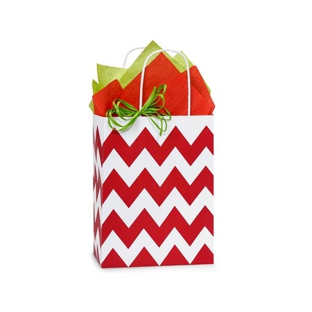 "Pack Of 25, Cub 8.25 X 4.75 X 10.5"" Chevron Stripe Red Recycled White Shopping Bags W/White Paper Twist Handles Made In Usa"