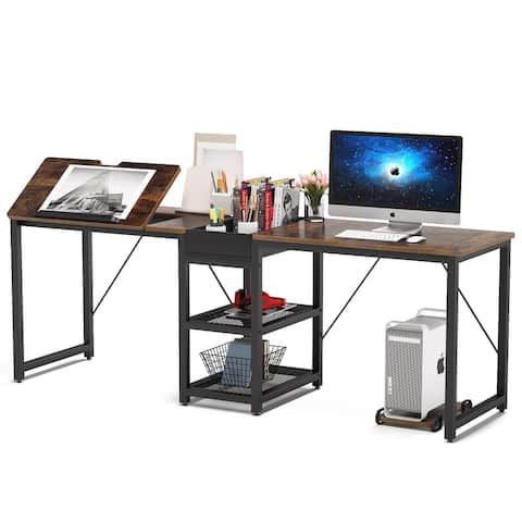 83 inches Long Double Computer Desk with Storage Shelves, Two Person Workstation Desk with Tiltable Drawing Tablet,