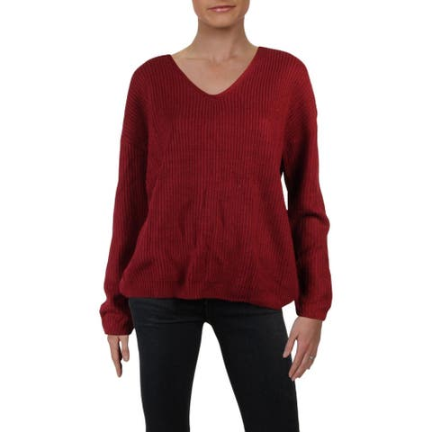 Willow & Clay Womens Sweater Ribbed Knit Lace-Up - Merlot - S