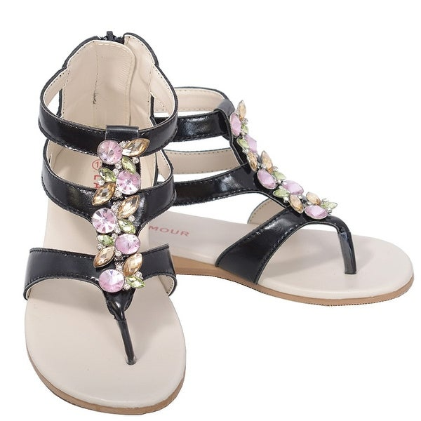 7fe35e5a802516 Shop L Amour Black Jeweled Gladiator T Strap Sandal Toddler Girl 7 ...