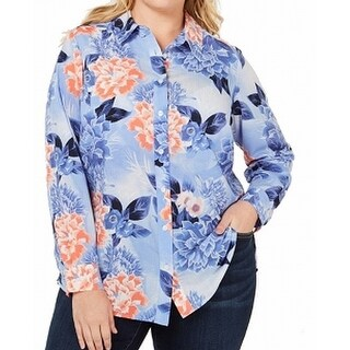 Link to Charter Club Women's Button Down Shirt Blue Size 2X Plus Floral-Print Similar Items in Tops