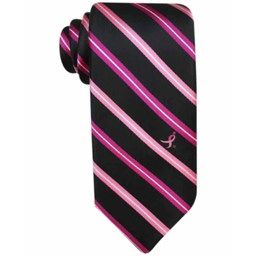 Susan Komen Knots for Hope tie men necktie black pink plaid new
