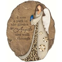 "10.5"" Inspirational Beadwork Angel with Blue Bird Outdoor Garden Patio Stepping Stone - Brown"