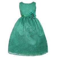 Girls Green Floral Lace Junior Bridesmaid Dress 8-12