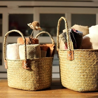 G Home Collection Rustic Natural Straw Storage Basket Bag with Handles (Set of 2)