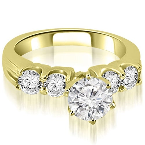 1.30 cttw. 14K Yellow Gold Round Cut Diamond Engagement Ring