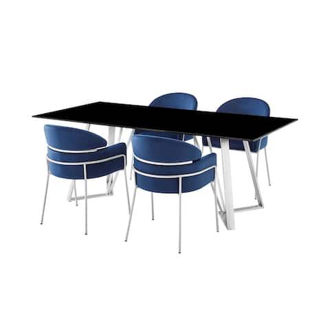 Cressida and Portia Blue Fabric 5 Piece Rectangular Dining Set