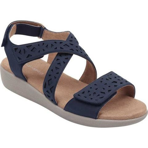 e0c6d6f44dd Easy Spirit Women s Kenzie 3 Strappy Sandal Navy Gorgeous Polyurethane