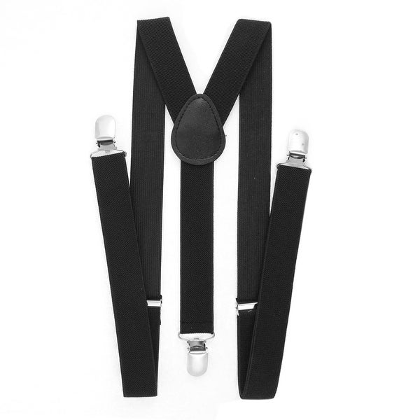 Unique Bargains Adjustable Metal Clamp Elastic Suspenders Braces Black 2.5cm Width