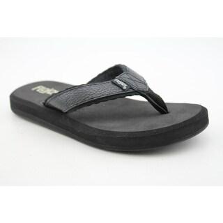 Flojos Colette Women Open Toe Leather Black Flip Flop Sandal