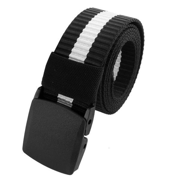 Unisex Outdoor Nylon Stripe Pattern Adjustable Canvas Web Waist Belt Black