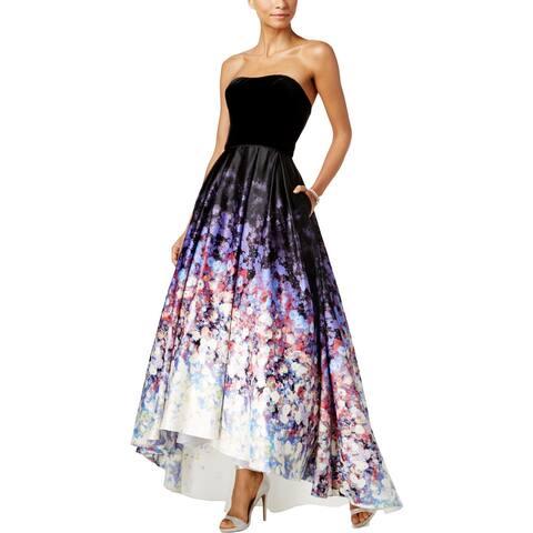 8b723778811 Betsy   Adam Womens Evening Dress Velvet Bodice High Low