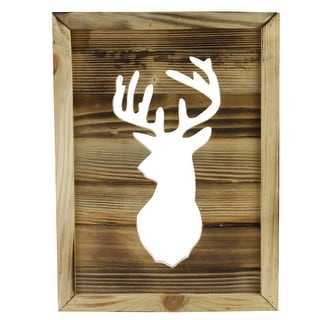 "13.75"" Framed Rustic Wood Deer Cut-Out Wall Hanging Decoration"