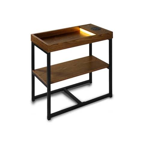 Modern Side Table with Bluetooth Speaker, USB & LED Lights