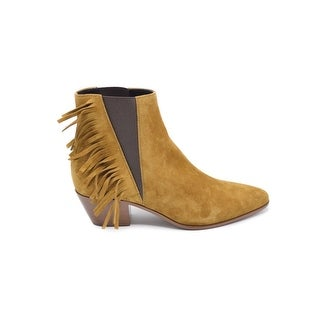 Saint Laurent Chelsea Bootie With Side Fringe Ankle Boots in Suede Size 36.5 / 6.5