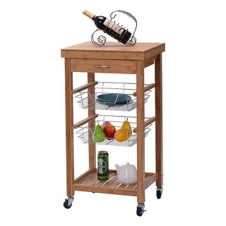 Costway Rolling Bamboo Kitchen Trolley Cart Island Storage Shelf w/ Drawer Baskets