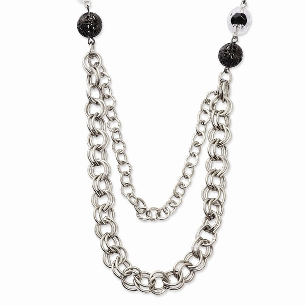 Silvertone Black & Clear Glass & Acrylic Beads Necklace - 28in
