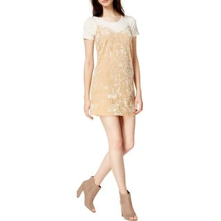 Kensie Womens Slip Dress Velvet Short Sleeves