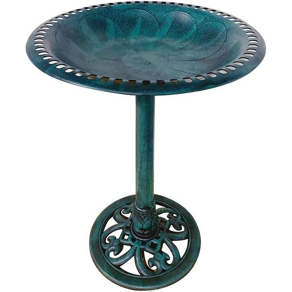 """Outdoor Garden Bird Bath Fleur de lis Decoration Accents Antique 28"""". Opens flyout."""
