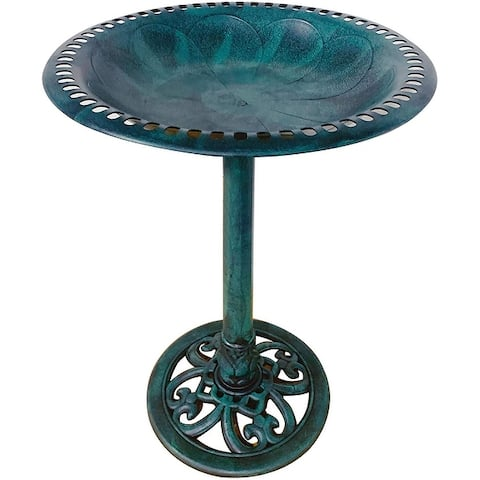 "Outdoor Garden Bird Bath Fleur de lis Decoration Accents Antique 28"""