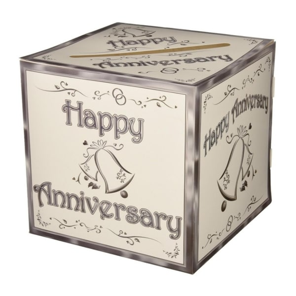 Pack Of 6 White And Silver Wedding Happy Anniversary Decorative Gift Card Boxes 9
