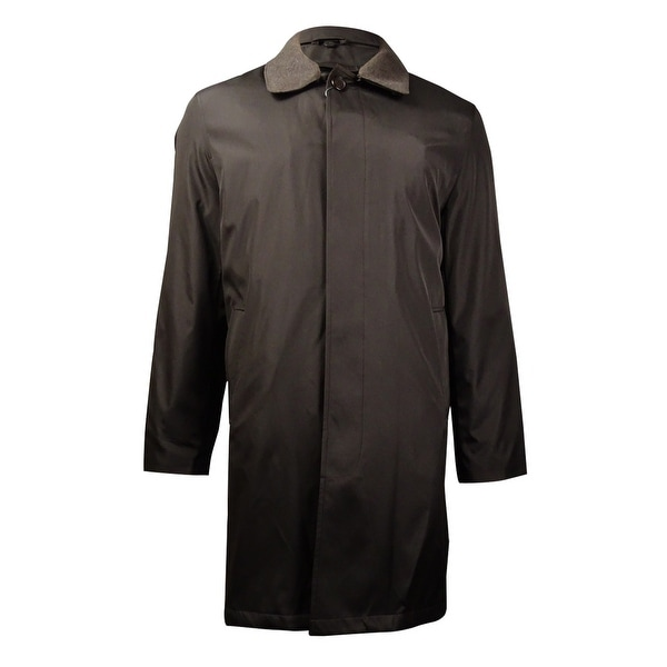 London Fog Men's Microfiber Wool Trim Raincoat (Dark Brown, 46R) - Dark Brown - 46 r/m37.5